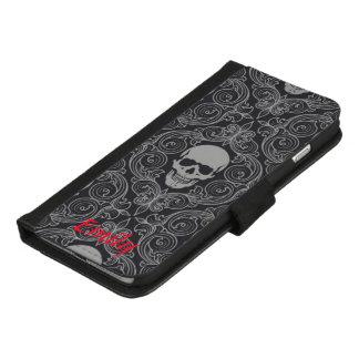 Coque Portefeuille Pour iPhone 8/7 Plus Coutume de crâne de Goth
