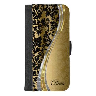 Coque Portefeuille Pour iPhone 8/7 Plus Damassés modernes de noir et d'or