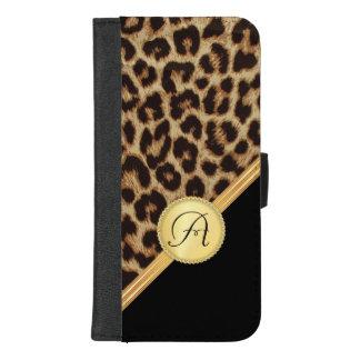 Coque Portefeuille Pour iPhone 8/7 Plus Empreinte de léopard de dames avec le monogramme