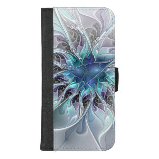 Coque Portefeuille Pour iPhone 8/7 Plus Fleur moderne abstraite de fractale de Flourish