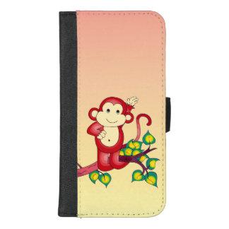 Coque Portefeuille Pour iPhone 8/7 Plus iPhone animal de singe rouge 8/7 caisse plus de