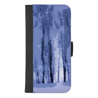 Coque Portefeuille Pour iPhone 8/7 Plus iPhone bleu en bois d'hiver 8/7 caisse plus de