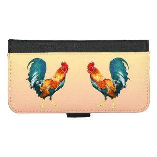 Coque Portefeuille Pour iPhone 8/7 Plus iPhone vert rouge de coqs 8/7 caisse plus de