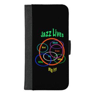 Coque Portefeuille Pour iPhone 8/7 Plus La musique de jazz vit iPhone noir 8/7 caisse plus
