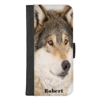 Coque Portefeuille Pour iPhone 8/7 Plus Le visage masculin de loup de Brown ajoutent un