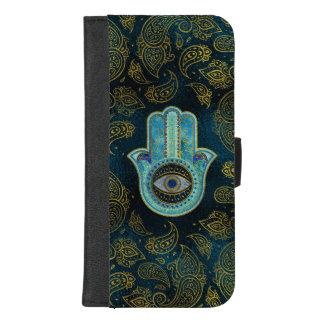 Coque Portefeuille Pour iPhone 8/7 Plus Main décorative de Hamsa avec l'arrière - plan de