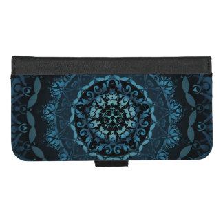Coque Portefeuille Pour iPhone 8/7 Plus Mandala bleu-foncé de damassé
