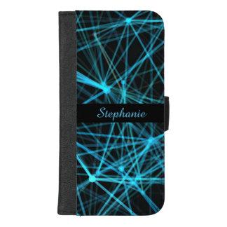 Coque Portefeuille Pour iPhone 8/7 Plus Monogramme bleu au néon
