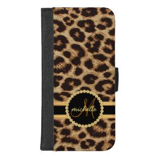 Coque Portefeuille Pour iPhone 8/7 Plus Monogramme de dames de Bling d'or de Faux de