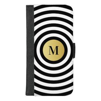 Coque Portefeuille Pour iPhone 8/7 Plus Monogramme frais d'or de motif de rayure de noir