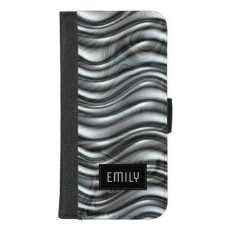 Coque Portefeuille Pour iPhone 8/7 Plus Monogramme métallique gris moderne de texture