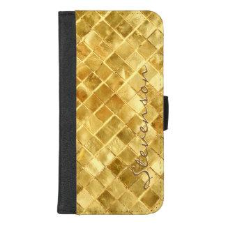 Coque Portefeuille Pour iPhone 8/7 Plus Motif de brique de mur d'or de mode avec le nom de