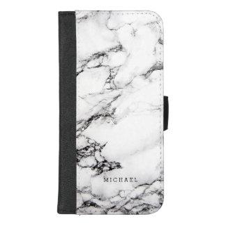 Coque Portefeuille Pour iPhone 8/7 Plus Motif en pierre de marbre blanc moderne de texture