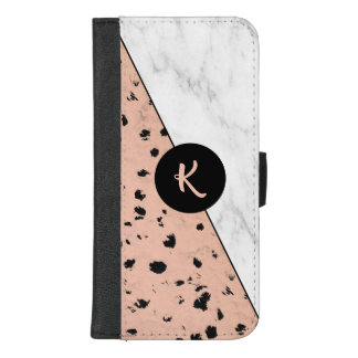 Coque Portefeuille Pour iPhone 8/7 Plus Motif rose d'or et de marbre avec le monogramme