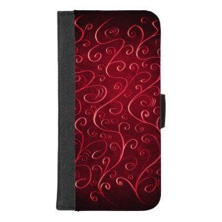 Coque Portefeuille Pour iPhone 8/7 Plus Motif rouge texturisé élégant lunatique de remous