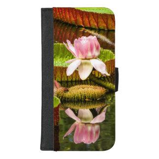 Coque Portefeuille Pour iPhone 8/7 Plus Nénuphar rose extraordinaire avec la réflexion