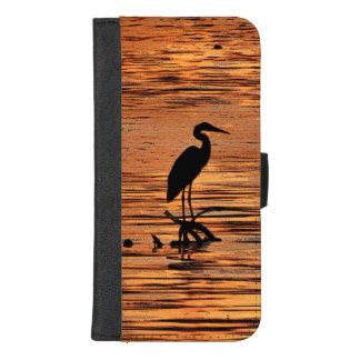 Coque Portefeuille Pour iPhone 8/7 Plus Oiseau de héron à l'iPhone de coucher du soleil