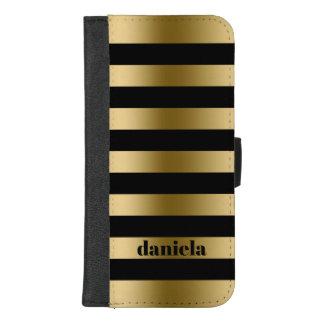 Coque Portefeuille Pour iPhone 8/7 Plus Or moderne et motif noir de rayures