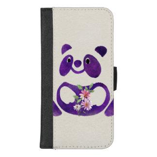 Coque Portefeuille Pour iPhone 8/7 Plus Ours panda pourpre mignon avec des fleurs