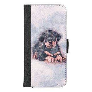 Coque Portefeuille Pour iPhone 8/7 Plus Peinture de croquis de chiot de rottweiler
