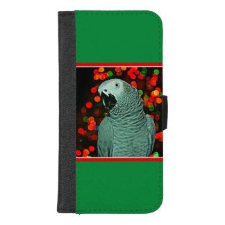 Coque Portefeuille Pour iPhone 8/7 Plus Peinture de perroquet de gris africain avec