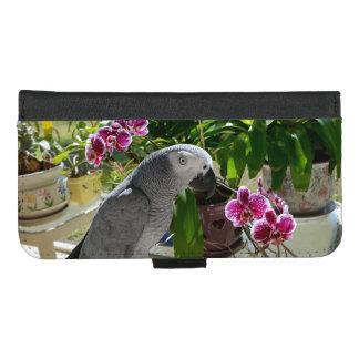 Coque Portefeuille Pour iPhone 8/7 Plus Perroquet de gris africain avec des orchidées