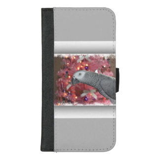 Coque Portefeuille Pour iPhone 8/7 Plus Perroquet de gris africain et arbre de Noël rose