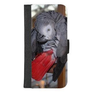 Coque Portefeuille Pour iPhone 8/7 Plus Perroquet flexible de gris africain du Congo avec