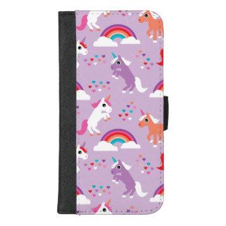 Coque Portefeuille Pour iPhone 8/7 Plus Pourpre mignon d'arc-en-ciel de licorne