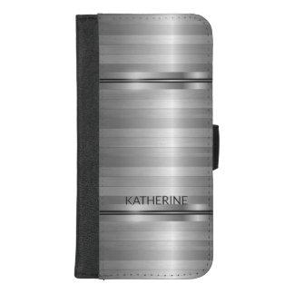 Coque Portefeuille Pour iPhone 8/7 Plus Rayures grises métalliques modernes