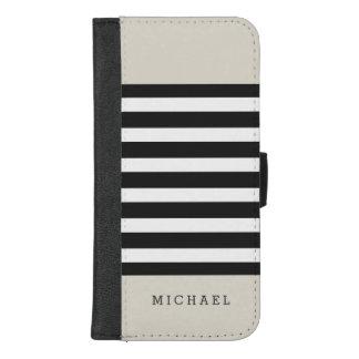 Coque Portefeuille Pour iPhone 8/7 Plus Rayures grises noires beiges de toile - élégant