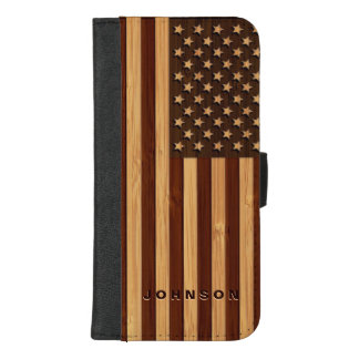 Coque Portefeuille Pour iPhone 8/7 Plus Regard en bambou et drapeau vintage gravé des
