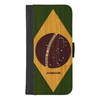 Coque Portefeuille Pour iPhone 8/7 Plus Regard en bambou et drapeau vintage gravé du