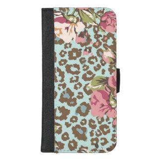 Coque Portefeuille Pour iPhone 8/7 Plus Roses bleus de rose de léopard