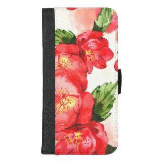 Coque Portefeuille Pour iPhone 8/7 Plus Roses mous rouges et roses d'aquarelle