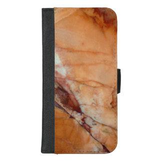 Coque Portefeuille Pour iPhone 8/7 Plus Rouge orange et marbre veiné par blanc