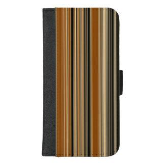 Coque Portefeuille Pour iPhone 8/7 Plus Selle Brown et motif rayé noir