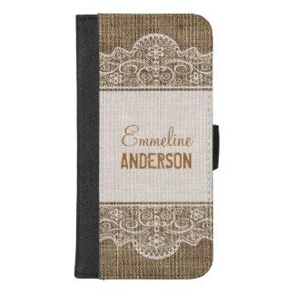 Coque Portefeuille Pour iPhone 8/7 Plus Toile de jute rustique vintage avec la belle