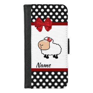 Coque Portefeuille Pour iPhone 8/7 pois girly drôle de moutons de bande dessinée