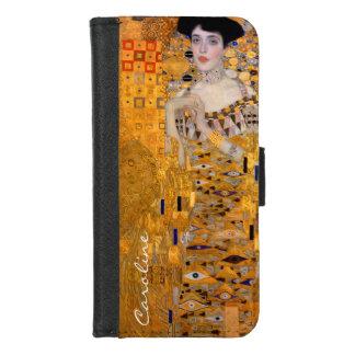 Coque Portefeuille Pour iPhone 8/7 Portrait vintage de Klimt Adele avec votre nom