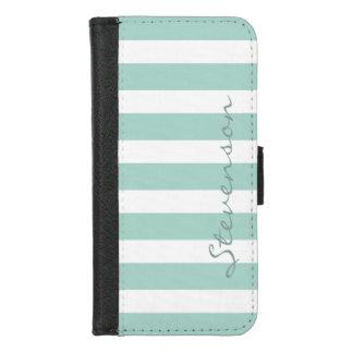 Coque Portefeuille Pour iPhone 8/7 Rayures classiques de menthe d'Aqua - nom
