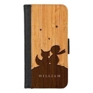 Coque Portefeuille Pour iPhone 8/7 Regard en bambou et petit prince gravé avec le Fox