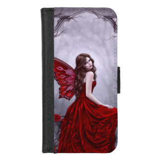 Coque Portefeuille Pour iPhone 8/7 Rose d'hiver - fée de papillon