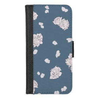 Coque Portefeuille Pour iPhone 8/7 Roses bleus et blancs