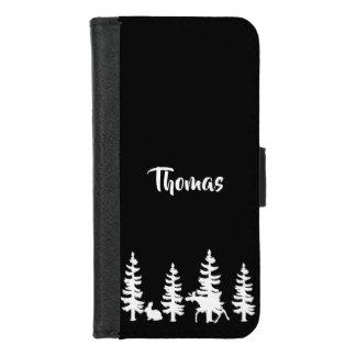 Coque Portefeuille Pour iPhone 8/7 Silhouettez la forêt et la faune dans le nom blanc