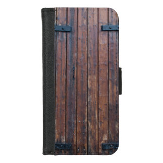 Coque Portefeuille Pour iPhone 8/7 Vieilles portes en bois de Brown avec les appuis