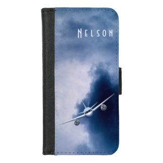 Coque Portefeuille Pour iPhone 8/7 Vol bleu d'avion d'avion à réaction dans le pilote