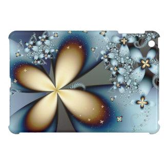 Coque Pour iPad Mini Art abstrait floral mignon d'or bleu