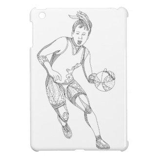 Coque Pour iPad Mini Art femelle de griffonnage de joueur de basket