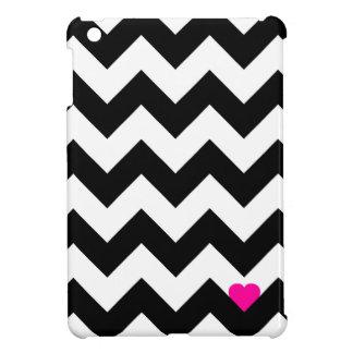Coque Pour iPad Mini Coeur & Chevron - Noir/Rose